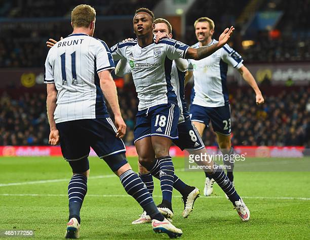 Saido Berahino of West Brom celebrates scoring their first goal with Chris Brunt and Craig Gardner of West Brom during the Barclays Premier League...