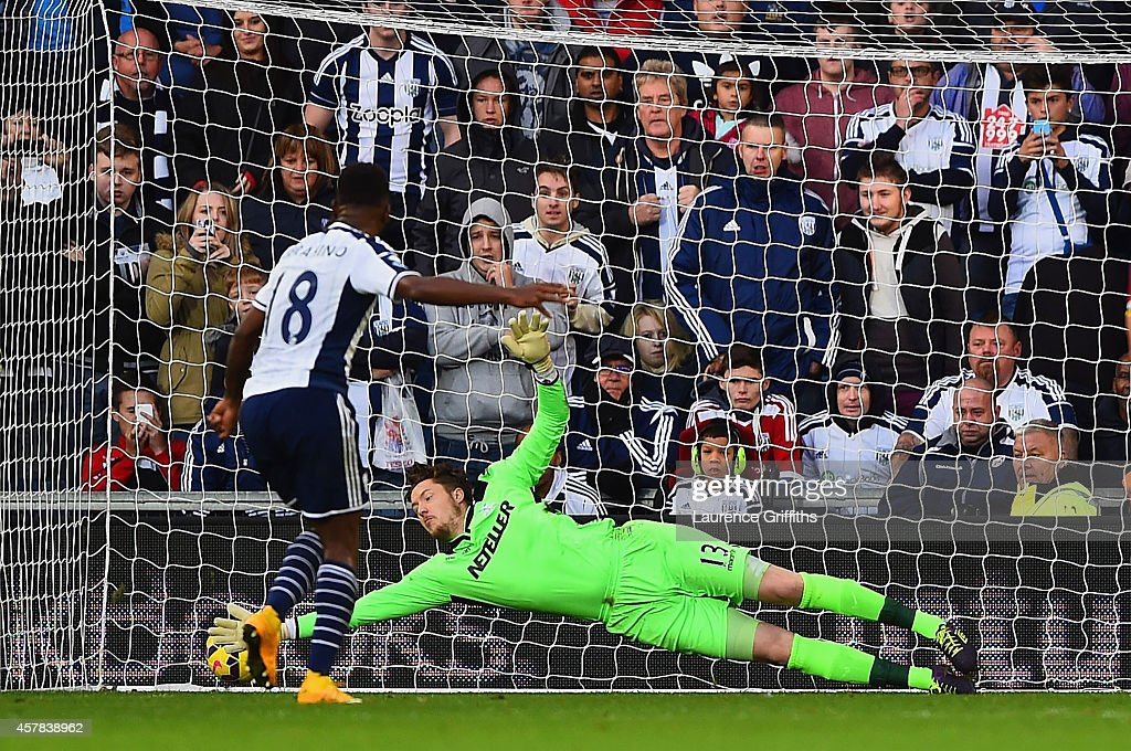 Saido Berahino of West Brom scores their second goal from the penalty spot past Wayne Hennessey of Crystal Palace during the Barclays Premier League match between West Bromwich Albion and Crystal Palace at The Hawthorns on October 25, 2014 in West Bromwich, England.