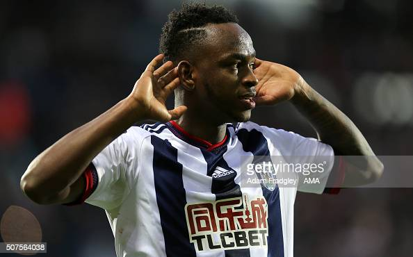 Saido Berahino of West Bromwich Albion celebrates after scoring a goal to make it 21 during the Emirates FA Cup match between West Bromwich Albion...