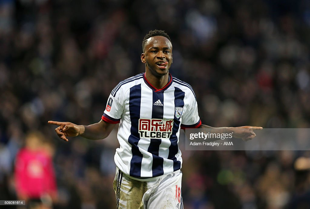 Saido Berahino of West Bromwich Albion celebrates after scoring a goal to make it 2-1 during the Emirates FA Cup match between West Bromwich Albion and Peterborough United at The Hawthorns on January 30, 2016 in West Bromwich, England.