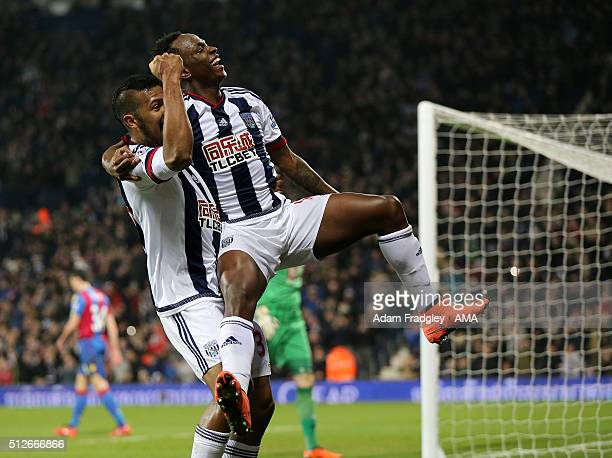Saido Berahino of West Bromwich Albion celebrates after scoring a goal to make it 30 with Salomon Rondon during the Barclays Premier League match...