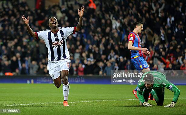 Saido Berahino of West Bromwich Albion celebrates after scoring a goal to make it 30 during the Barclays Premier League match between West Bromwich...