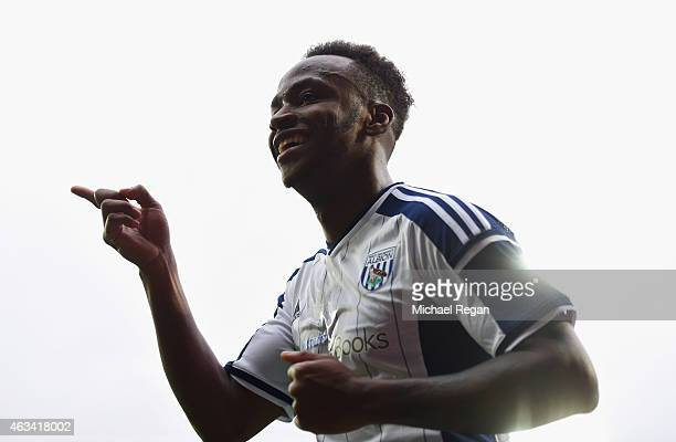 Saido Berahino of West Bromwich Albion celebrates as he scores their fourth goal during the FA Cup Fifth Round match between West Bromwich Albion and...