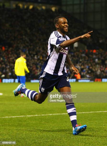 Saido Berahino of West Bromwich Albion celebrates his goal during the Barclays Premier League match between West Bromwich Albion and Newcastle United...
