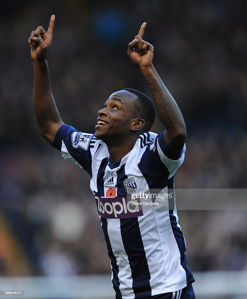 <a gi-track='captionPersonalityLinkClicked' href=/galleries/search?phrase=Saido+Berahino&family=editorial&specificpeople=6216861 ng-click='$event.stopPropagation()'>Saido Berahino</a> of West Bromwich Albion celebrates scoring the opening goal during the Barclays Premier League match between West Bromwich Albion and Crystal Palace at The Hawthorns on November 2, 2013 in West Bromwich, England.