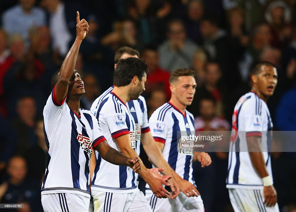 Saido Berahino of West Bromwich Albion celebrates with team mates as he scores their first goal during the Barclays Premier League match between West...