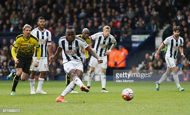 Saido Berahino of West Bromwich Albion fails to score his penalty saved by Heurelho Gomes of Watford during the Barclays Premier League match between...