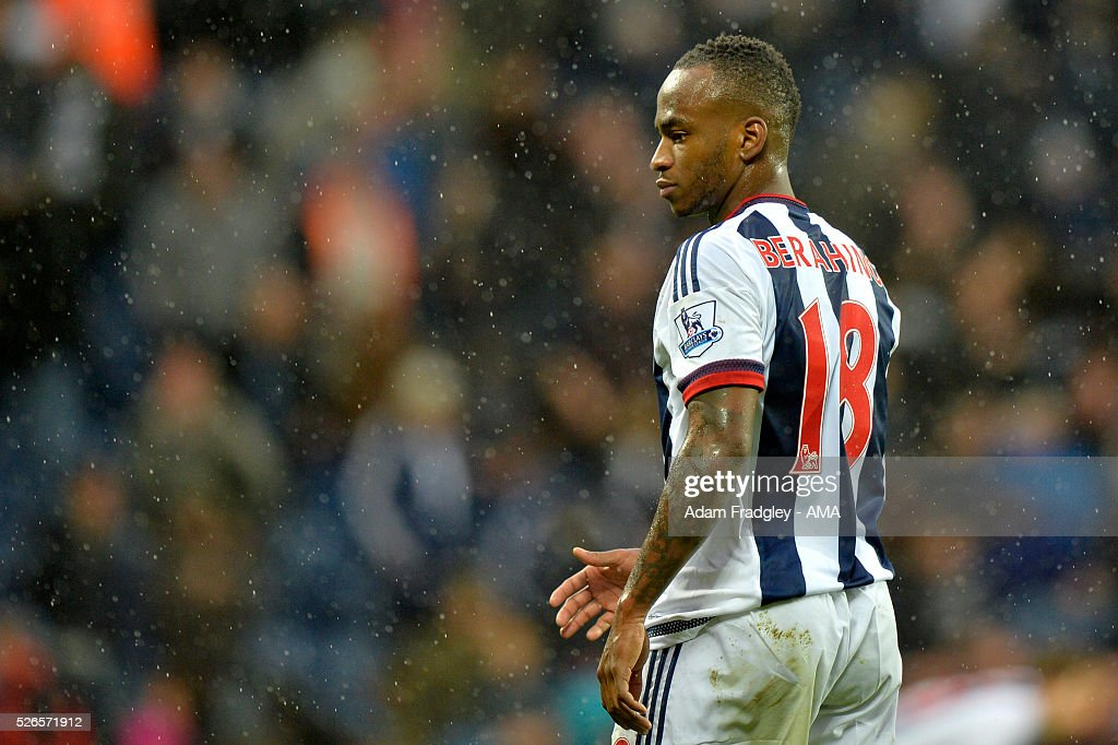 Saido Berahino of West Bromwich Albion looks on during the Barclays Premier League match between West Bromwich Albion and West Ham United at The Hawthorns on April 30, 2016 in West Bromwich, United Kingdom.