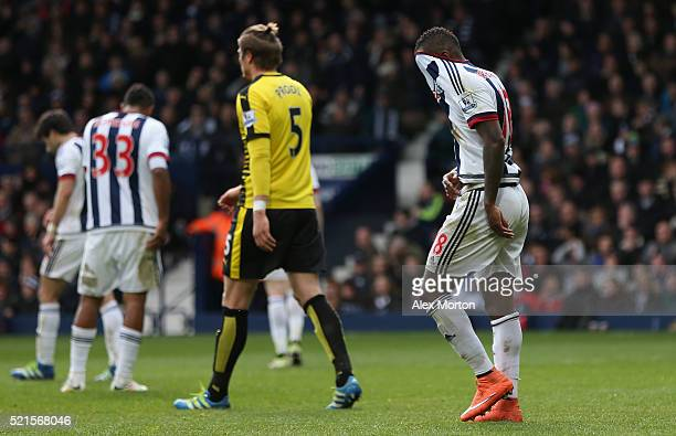Saido Berahino of West Bromwich Albion reacts after failing to score his penalty saved by Heurelho Gomes of Watford during the Barclays Premier...