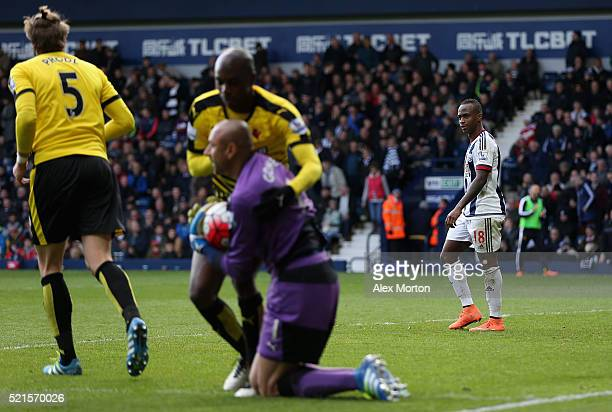 Saido Berahino of West Bromwich Albion reacts after failing to score his second penalty saved by Heurelho Gomes of Watford during the Barclays...