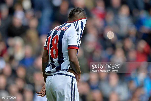 Saido Berahino of West Bromwich Albion reacts after missing his first penalty during the Barclays Premier League match between West Bromwich Albion...