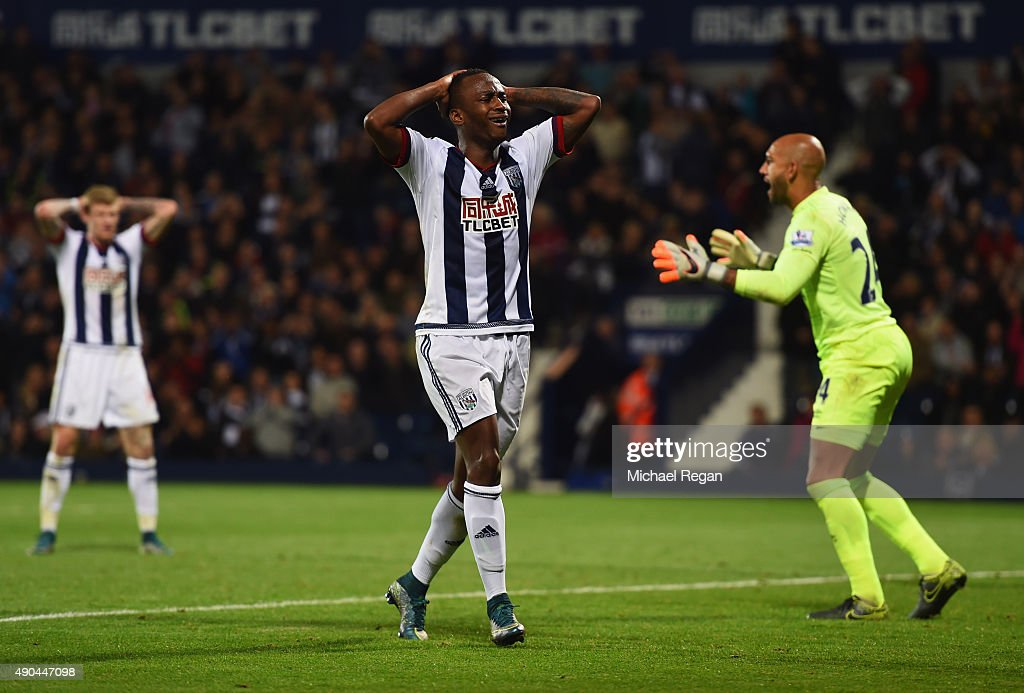 Saido Berahino of West Bromwich Albion reacts during the Barclays Premier League match between West Bromwich Albion and Everton at The Hawthorns on September 28, 2015 in West Bromwich, United Kingdom.