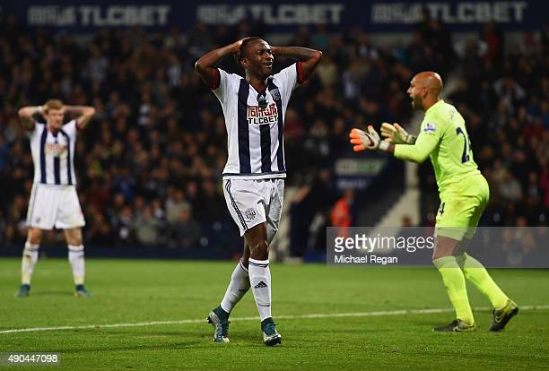 Saido Berahino of West Bromwich Albion reacts during the Barclays Premier League match between West Bromwich Albion and Everton at The Hawthorns on...