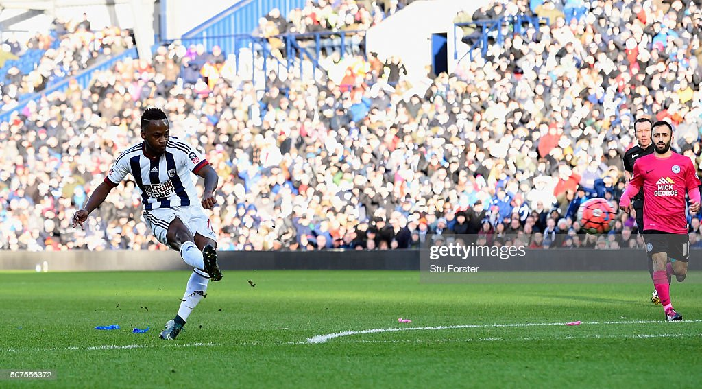 Saido Berahino of West Bromwich Albion scores his team's first goal during the Emirates FA Cup Fourth Round match between West Bromwich Albion and Peterborough United at The Hawthorns on January 30, 2016 in West Bromwich, England.
