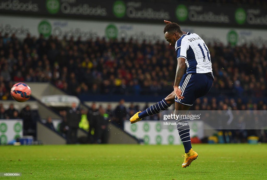 Saido Berahino of West Bromwich Albion scores their first goal during the FA Cup Third Round match between West Bromwich Albion and Gateshead at The...
