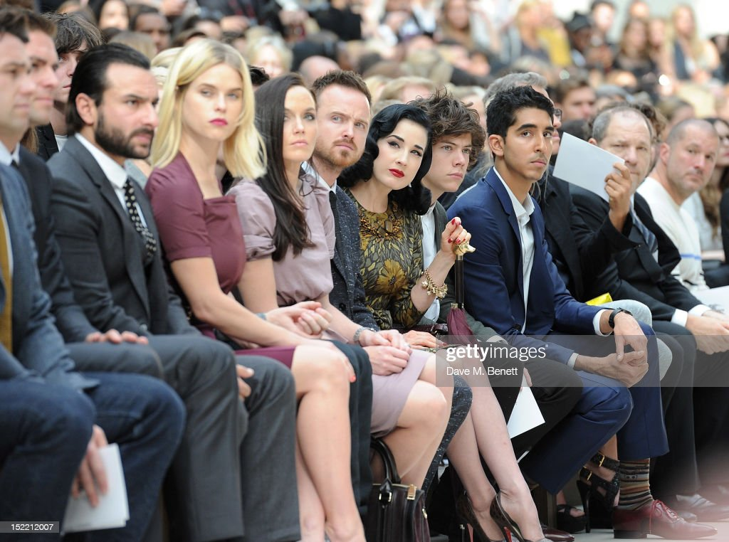 <a gi-track='captionPersonalityLinkClicked' href=/galleries/search?phrase=Saif+Ali+Khan&family=editorial&specificpeople=3117032 ng-click='$event.stopPropagation()'>Saif Ali Khan</a>, <a gi-track='captionPersonalityLinkClicked' href=/galleries/search?phrase=Alice+Eve+-+Actress&family=editorial&specificpeople=570229 ng-click='$event.stopPropagation()'>Alice Eve</a>, <a gi-track='captionPersonalityLinkClicked' href=/galleries/search?phrase=Victoria+Pendleton&family=editorial&specificpeople=228525 ng-click='$event.stopPropagation()'>Victoria Pendleton</a>, <a gi-track='captionPersonalityLinkClicked' href=/galleries/search?phrase=Aaron+Paul+-+Actor&family=editorial&specificpeople=693211 ng-click='$event.stopPropagation()'>Aaron Paul</a>, <a gi-track='captionPersonalityLinkClicked' href=/galleries/search?phrase=Dita+Von+Teese&family=editorial&specificpeople=210578 ng-click='$event.stopPropagation()'>Dita Von Teese</a>, <a gi-track='captionPersonalityLinkClicked' href=/galleries/search?phrase=Harry+Styles&family=editorial&specificpeople=7229830 ng-click='$event.stopPropagation()'>Harry Styles</a>, <a gi-track='captionPersonalityLinkClicked' href=/galleries/search?phrase=Dev+Patel&family=editorial&specificpeople=5123545 ng-click='$event.stopPropagation()'>Dev Patel</a> and <a gi-track='captionPersonalityLinkClicked' href=/galleries/search?phrase=Harvey+Weinstein&family=editorial&specificpeople=201749 ng-click='$event.stopPropagation()'>Harvey Weinstein</a> attend the Burberry Spring Summer 2013 Womenswear Show Front Row at Kensington Gardens on September 17, 2012 in London, England.