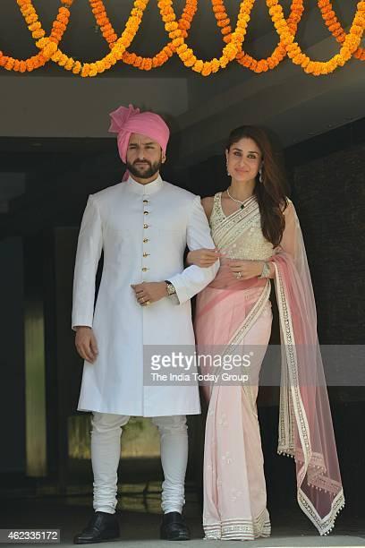 Saif Ali Khan with wife Kareena Kapoor at Soha Ali Khan and Kunal Khemus wedding in Mumbai