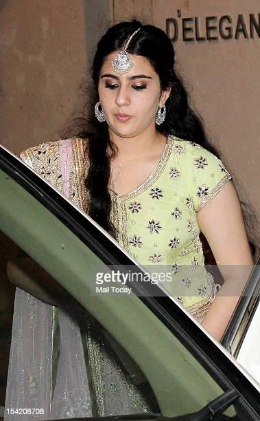 Saif Ali Khan's daughter Sara Ali Khan during the sangeet ceremony of Kareena Kapoor and Saif Ali Khan held in Mumbai