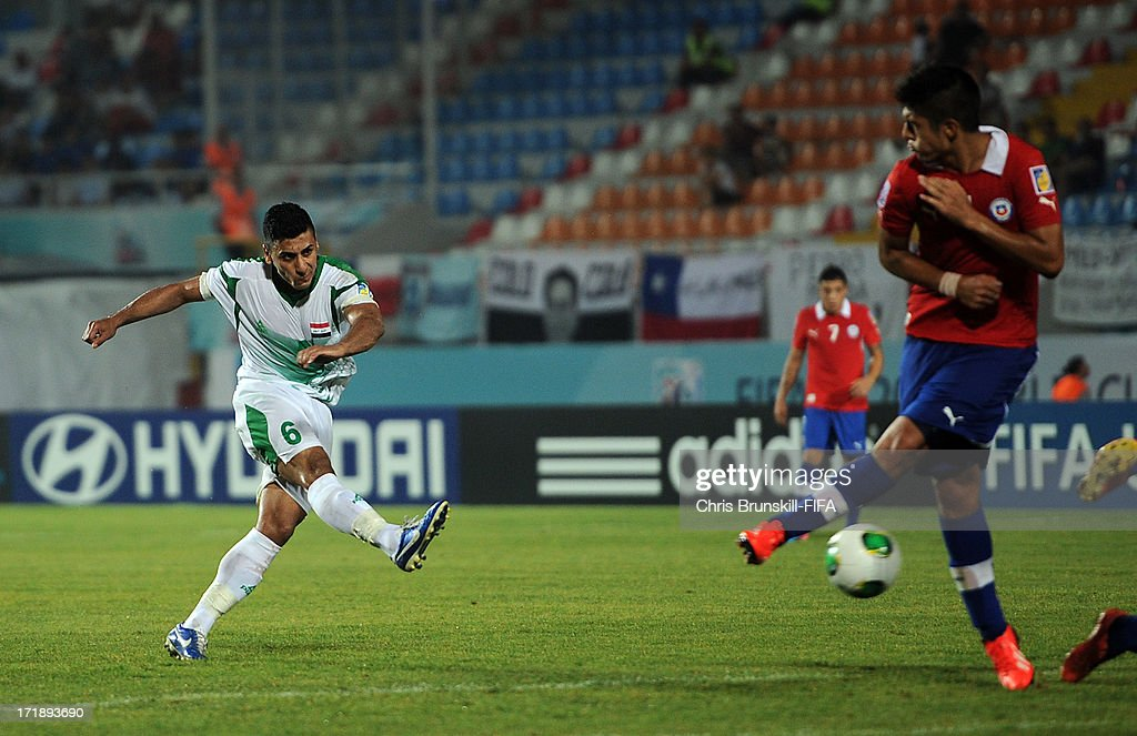 Saif Salman of Iraq scores his side's second goal during the FIFA U20 World Cup Group E match between Iraq and Chile at Akdeniz University Stadium on June 29, 2013 in Antalya, Turkey.