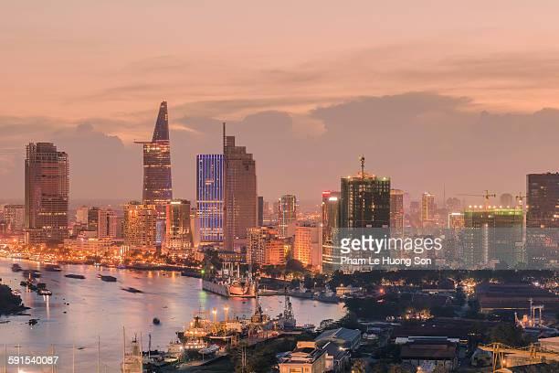 Saigon downtown at sunset