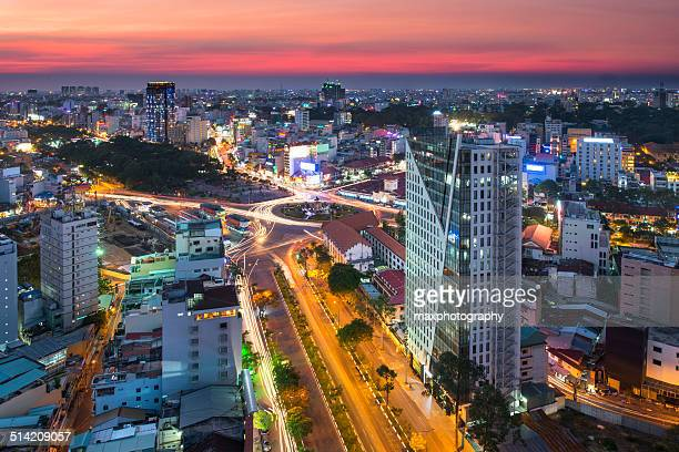 Saigon downtown in sunset