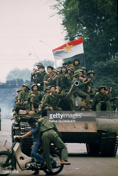 Saigon in Vietnam on April 30 1975 A North Vietnamese tank loaded with soldiers during the fall of the city April 30 1975