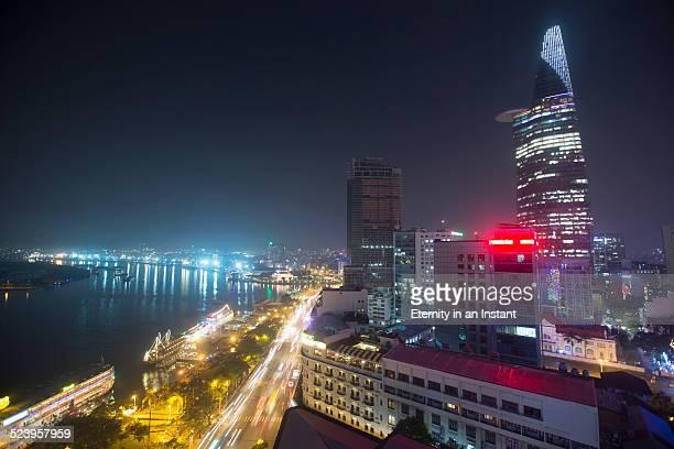 Saigon River and Bitexco Tower at night, Vietnam