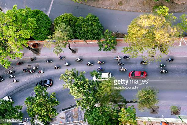 Saigon street view with motorcycles