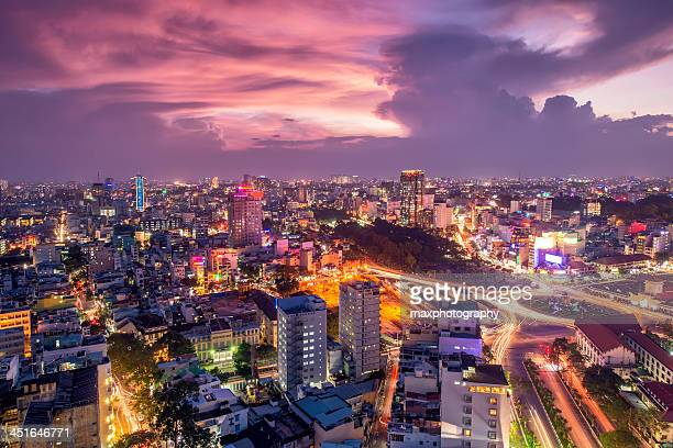 Saigon to Ben Thanh market in vibrant sunset