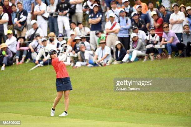 Saiki Fujita of Japan hits her second shot on the 2nd hole during the final round of the Resorttrust Ladies at the Oakmont Golf Club on May 28 2017...