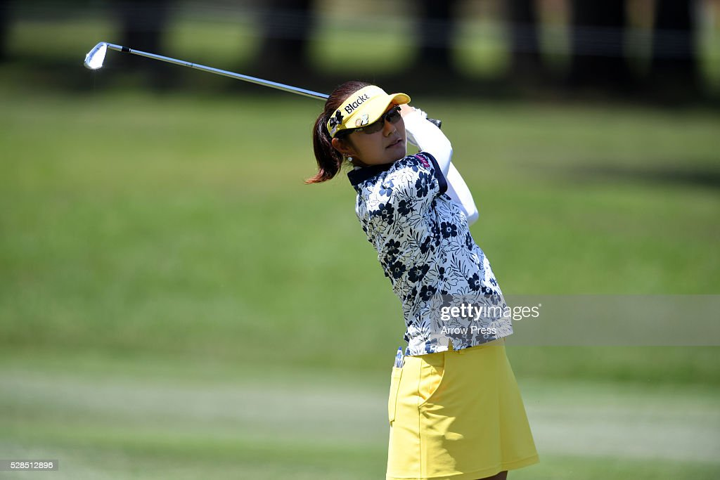 Saiki Fujita of Japan hits her second shot on the 3h hole during the first round of the World Ladies Championship Salonpas Cup at the Ibaraki Golf Club on May 5, 2016 in Tsukubamirai, Japan.