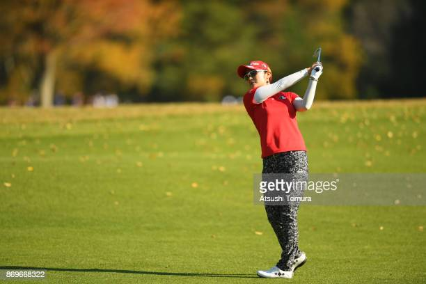 Saiki Fujita of Japan hits her second shot on the 6th hole during the first round of the TOTO Japan Classics 2017 at the Taiheiyo Club Minori Course...