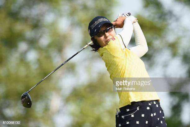 Saiki Fujita of Japan hits her tee shot on the 1st hole during the first round of the Nipponham Ladies Classics at the Ambix Hakodate Club on July 7...