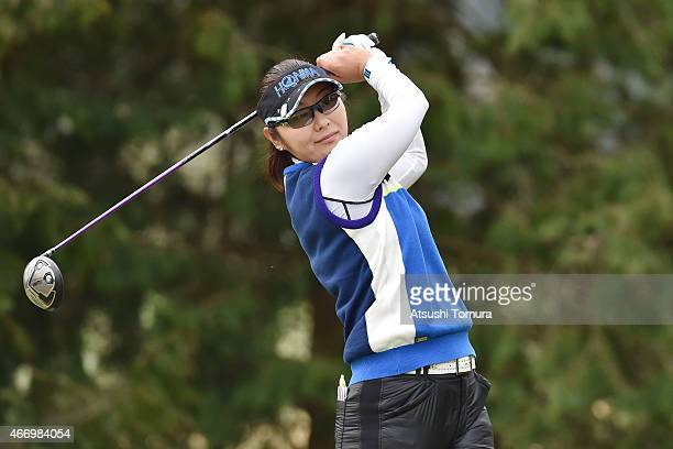 Saiki Fujita of Japan hits her tee shot on the 2nd hole during first round of the TPoint Ladies Golf Tournament at the Wakagi Golf Club on March 20...