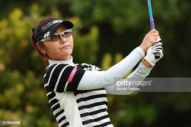 Saiki Fujita of Japan hits her tee shot on the 2nd hole during the third round of the Daikin Orchid Ladies Golf Tournament at the Ryukyu Golf Club on...