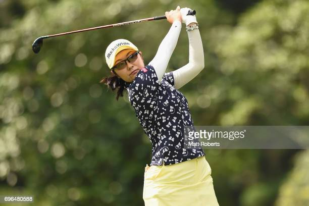 Saiki Fujita of Japan hits her tee shot on the 2nd hole during the first round of the Nichirei Ladies at the Sodegaura Country Club Shinsode Course...