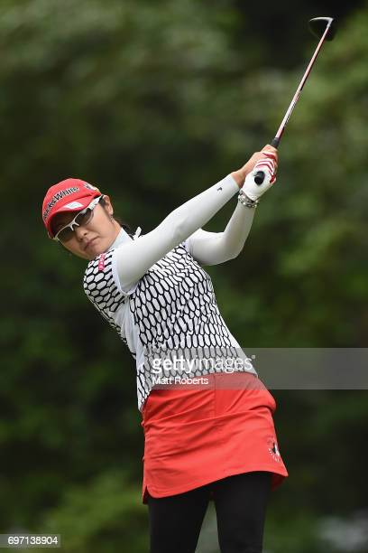 Saiki Fujita of Japan hits her tee shot on the 2nd hole during the final round of the Nichirei Ladies at the on June 18 2017 in Chiba Japan