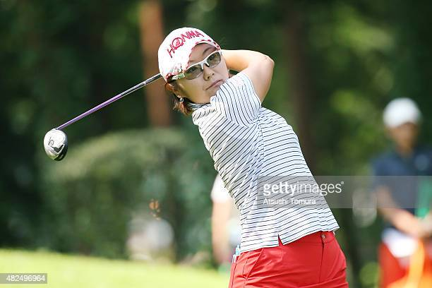 Saiki Fujita of Japan hits her tee shot on the 3rd hole during the first round of the Daito Kentaku Eheyanet Ladies 2015 at the Narusawa Golf Club on...