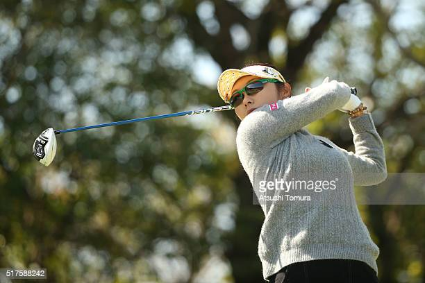 Saiki Fujita of Japan hits her tee shot on the 3rd hole during the second round of the AXA Ladies Golf Tournament at the UMK Country Club on March 26...