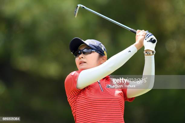 Saiki Fujita of Japan hits her tee shot on the 3rd hole during the final round of the Resorttrust Ladies at the Oakmont Golf Club on May 28 2017 in...