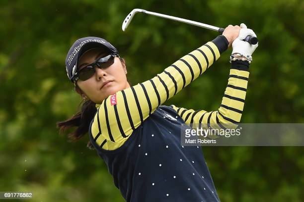 Saiki Fujita of Japan hits her tee shot on the 3rd hole during the first round of the Yonex Ladies Golf Tournament 2016 at the Yonex Country Club on...
