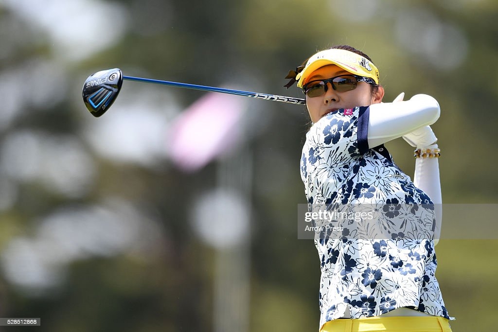 Saiki Fujita of Japan hits her tee shot on the 4h hole during the first round of the World Ladies Championship Salonpas Cup at the Ibaraki Golf Club on May 5, 2016 in Tsukubamirai, Japan.