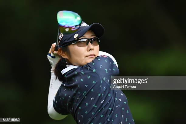 Saiki Fujita of Japan hits her tee shot on the 6th hole during the final round of the 50th LPGA Championship Konica Minolta Cup 2017 at the Appi...