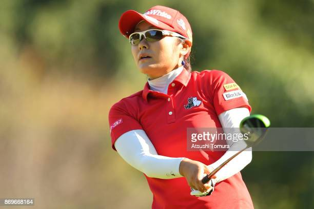 Saiki Fujita of Japan hits her tee shot on the 6th hole during the first round of the TOTO Japan Classics 2017 at the Taiheiyo Club Minori Course on...