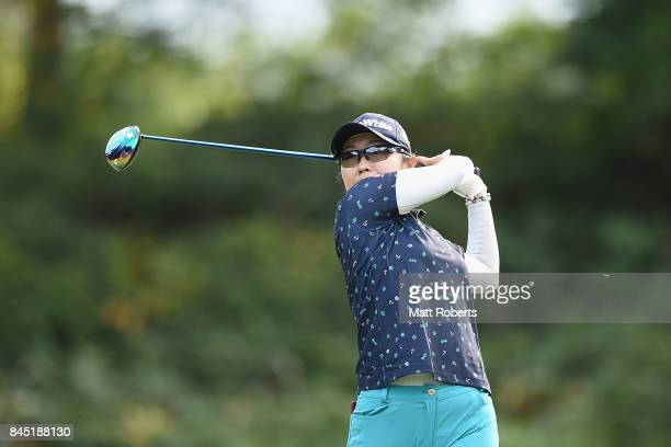 Saiki Fujita of Japan hits her tee shot on the 9th hole during the final round of the 50th LPGA Championship Konica Minolta Cup 2017 at the Appi...