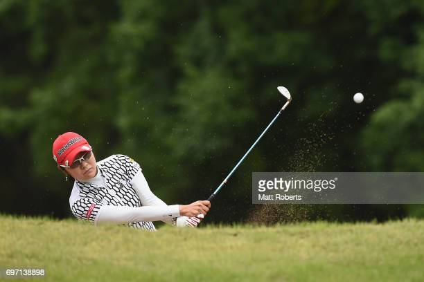 Saiki Fujita of Japan hits out of the first green bunker during the final round of the Nichirei Ladies at the on June 18 2017 in Chiba Japan