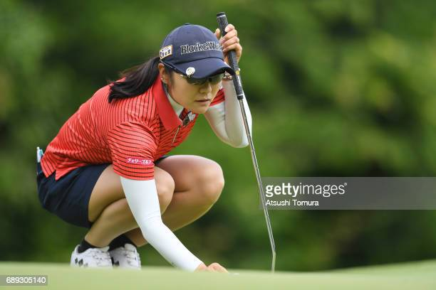 Saiki Fujita of Japan lines up her birdie putt on the 2nd hole during the final round of the Resorttrust Ladies at the Oakmont Golf Club on May 28...