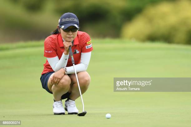Saiki Fujita of Japan lines up her birdie putt on the 3rd hole during the final round of the Resorttrust Ladies at the Oakmont Golf Club on May 28...