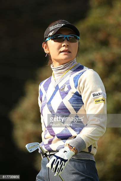 Saiki Fujita of Japan looks on during the final round of the AXA Ladies Golf Tournament at the UMK Country Club on March 27 2016 in Miyazaki Japan