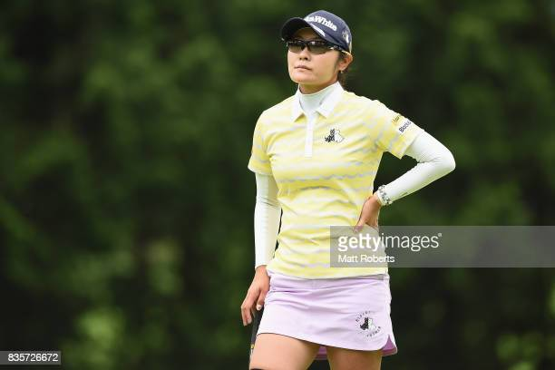 Saiki Fujita of Japan looks on during the final round of the CAT Ladies Golf Tournament HAKONE JAPAN 2017 at the Daihakone Country Club on August 20...